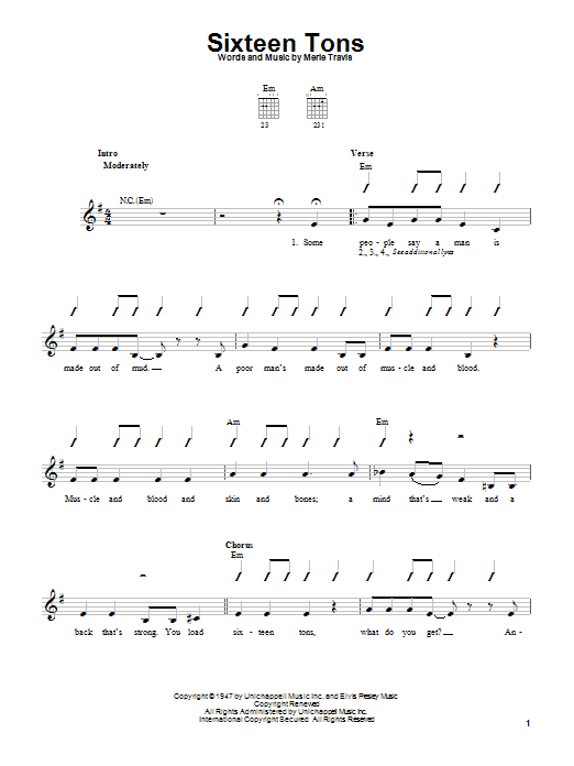 Merle Travis Sixteen Tons sheet music notes and chords. Download Printable PDF.