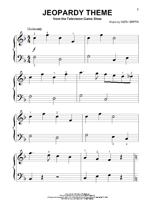 Merv Griffin Jeopardy Theme sheet music notes and chords. Download Printable PDF.