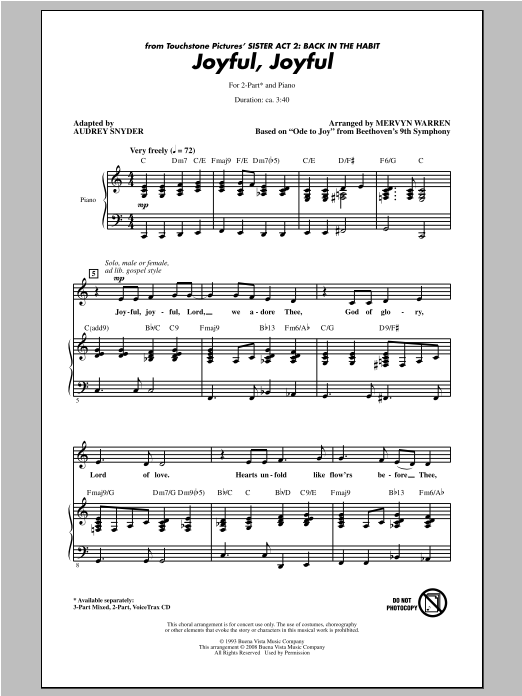 Joyful - SATB SATB Sister Act 2: Back In The Habit Piano Accompanimen Joyful