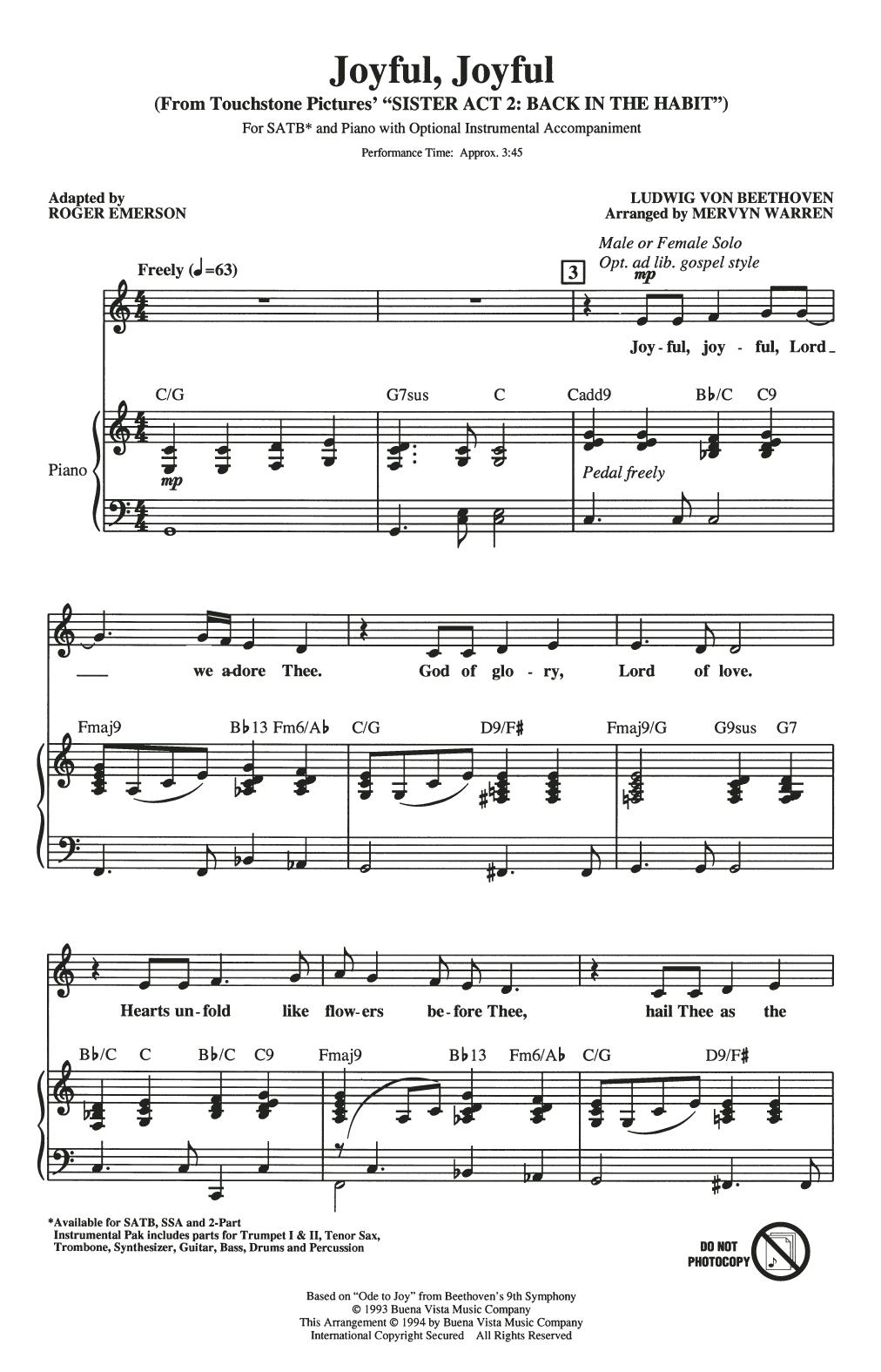 Mervyn Warren Joyful, Joyful (from Sister Act 2) (arr. Roger Emerson) sheet music notes and chords