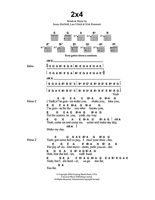 Metallica 2x4 sheet music notes and chords