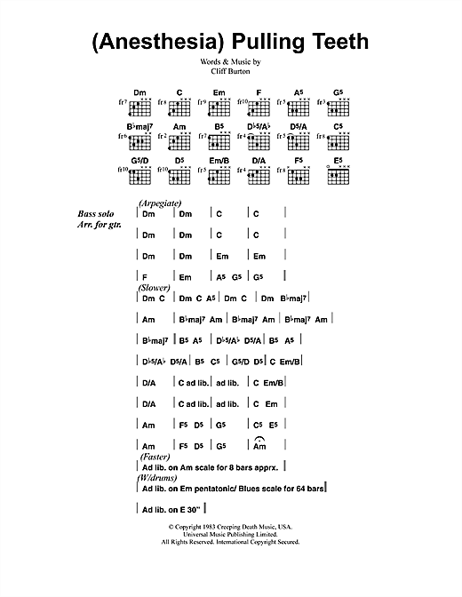 Metallica (Anesthesia) Pulling Teeth sheet music notes and chords. Download Printable PDF.