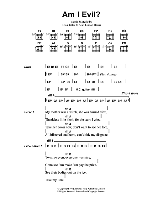 Metallica Am I Evil? sheet music notes and chords. Download Printable PDF.
