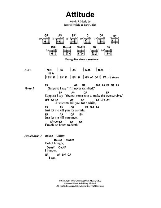 Metallica Attitude sheet music notes and chords
