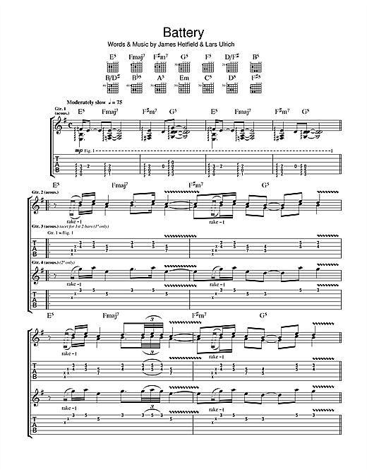 Metallica Battery sheet music notes and chords. Download Printable PDF.