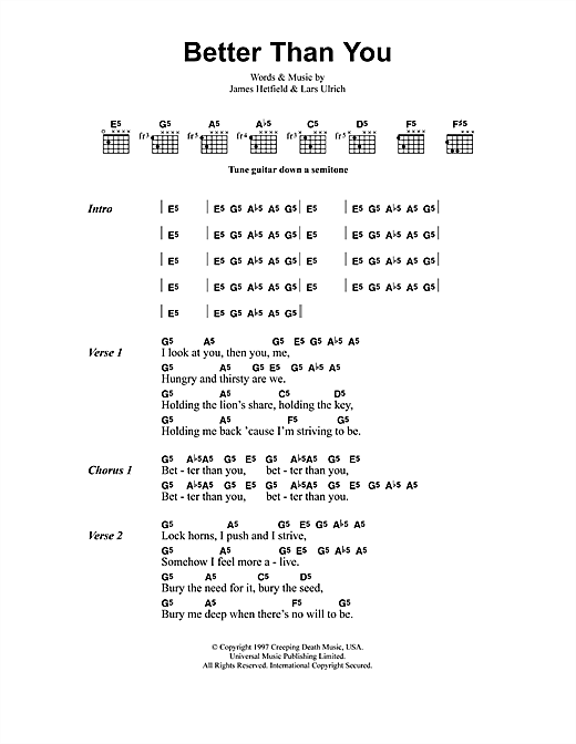 Metallica Better Than You sheet music notes and chords