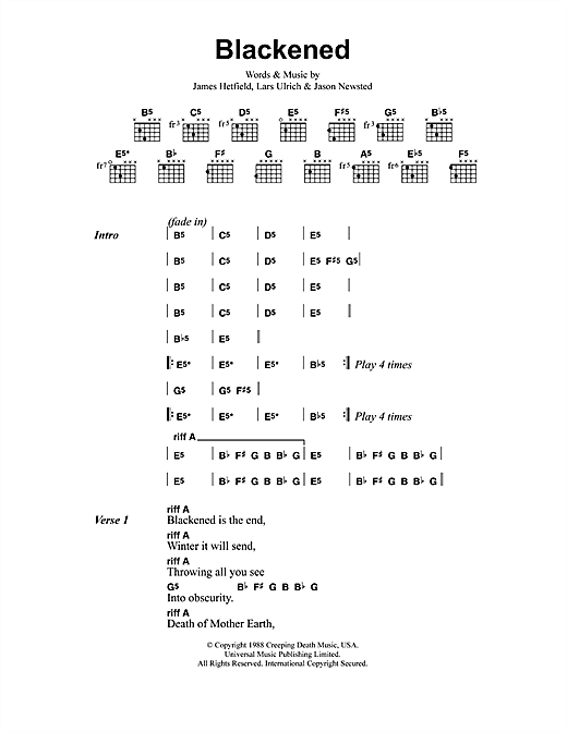 Metallica Blackened sheet music notes and chords. Download Printable PDF.