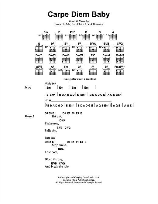 Metallica Carpe Diem Baby sheet music notes and chords