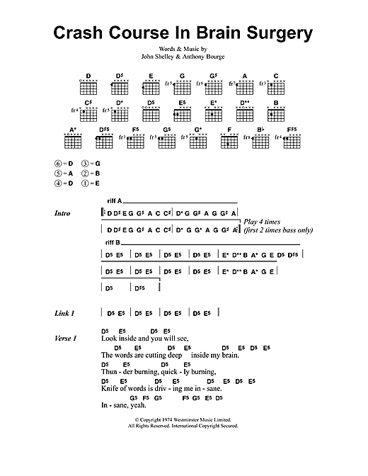 Metallica Crash Course In Brain Surgery sheet music notes and chords