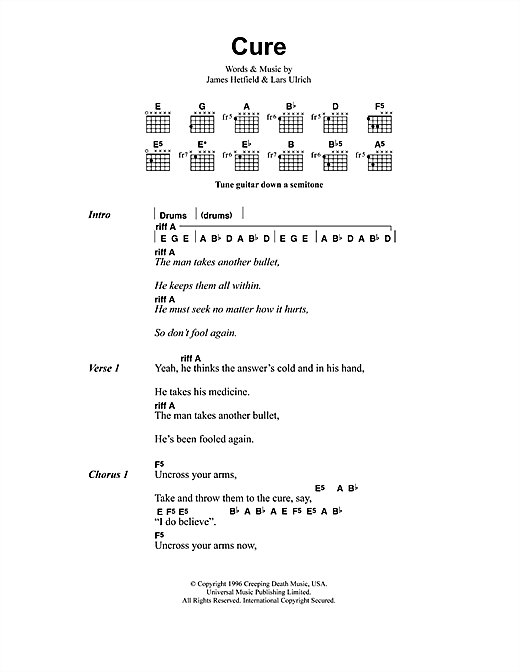 Metallica Cure sheet music notes and chords