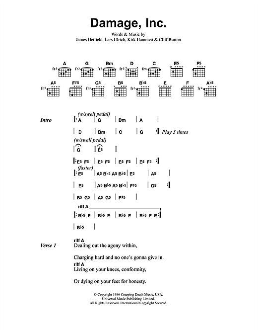 Metallica Damage, Inc sheet music notes and chords