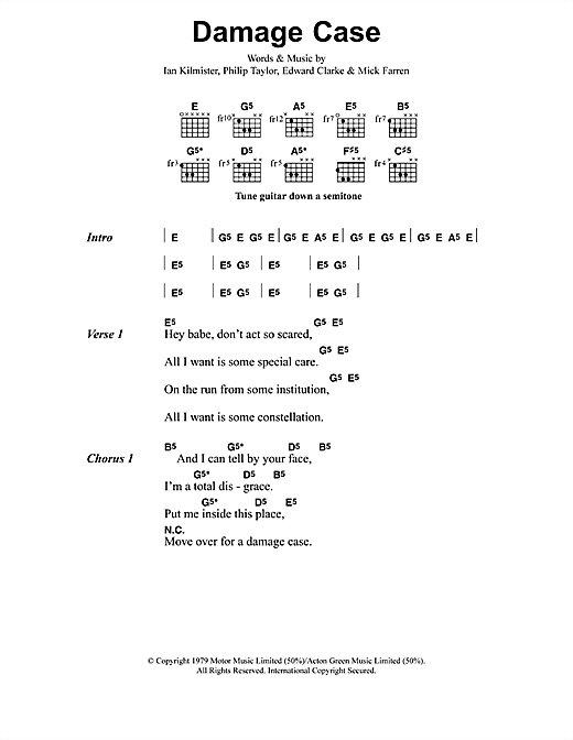 Metallica Damage Case sheet music notes and chords