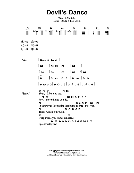 Metallica Devil's Dance sheet music notes and chords