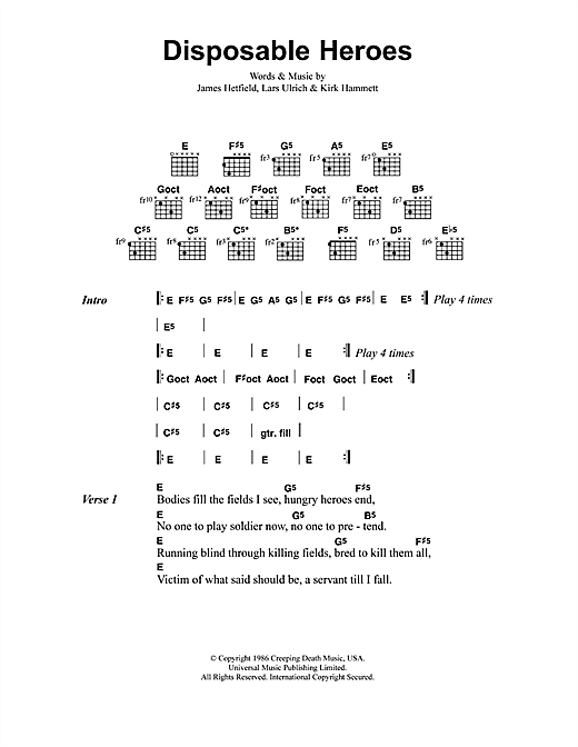 Metallica Disposable Heroes sheet music notes and chords. Download Printable PDF.