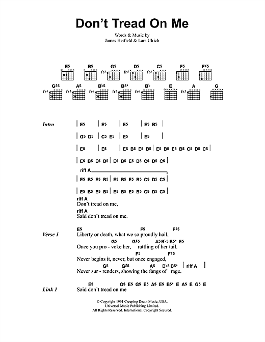 Metallica Don't Tread On Me sheet music notes and chords