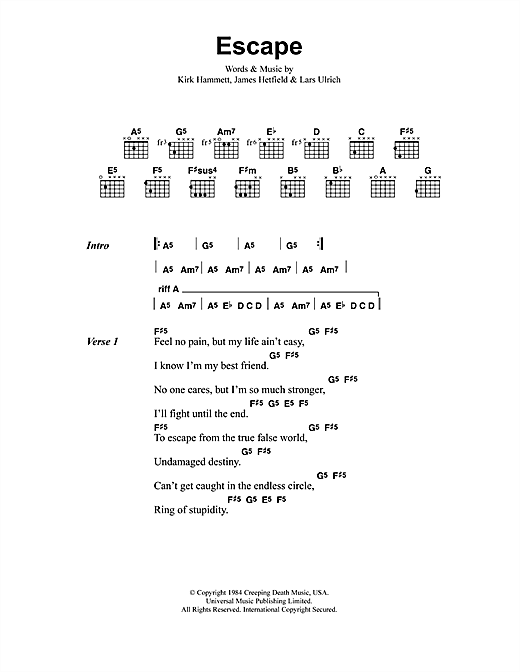 Metallica Escape sheet music notes and chords