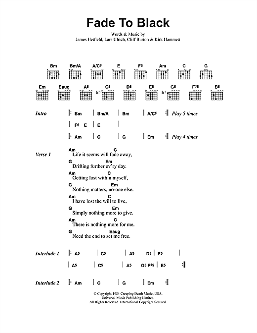 Metallica Fade To Black sheet music notes and chords. Download Printable PDF.
