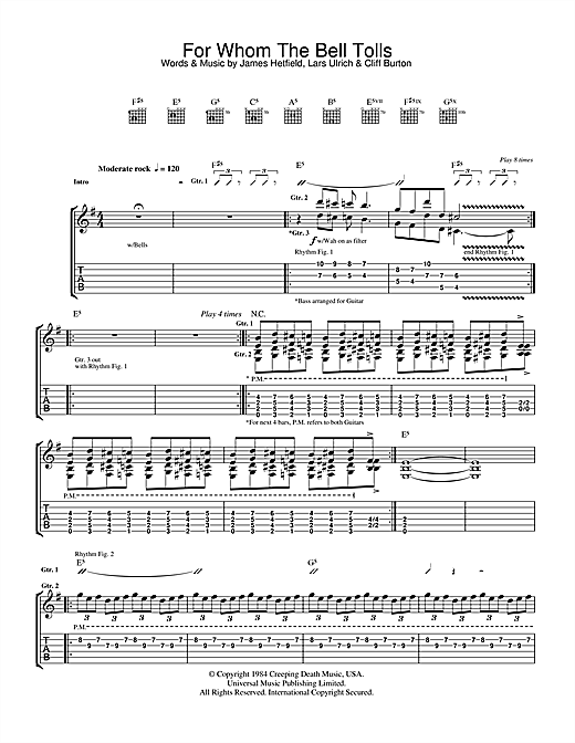 Metallica For Whom The Bell Tolls sheet music notes and chords. Download Printable PDF.