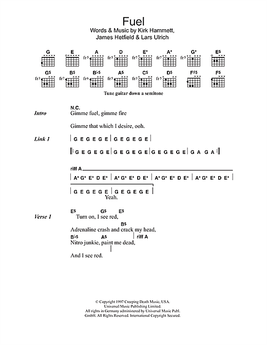 Metallica Fuel sheet music notes and chords