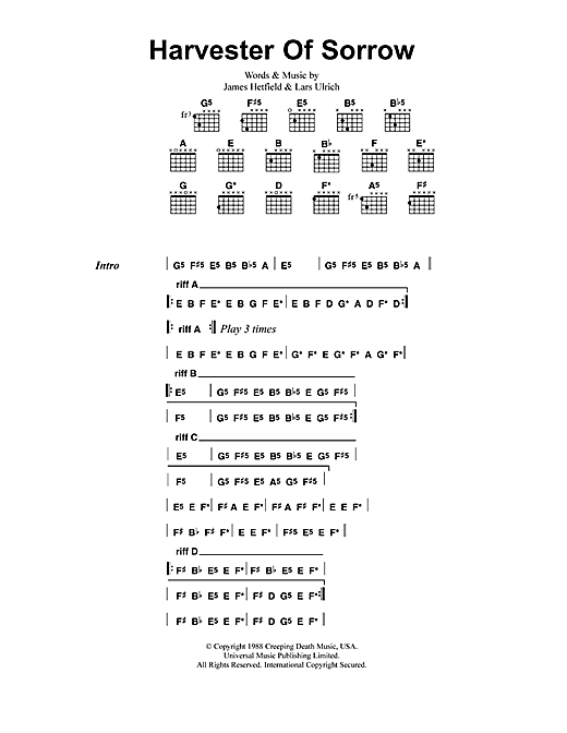 Metallica Harvester Of Sorrow sheet music notes and chords