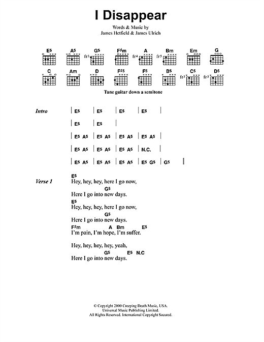 Metallica I Disappear sheet music notes and chords