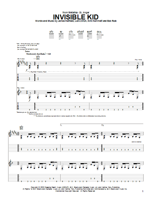 Metallica Invisible Kid sheet music notes and chords. Download Printable PDF.