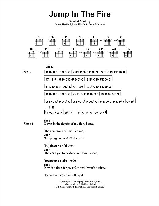 Metallica Jump In The Fire sheet music notes and chords. Download Printable PDF.