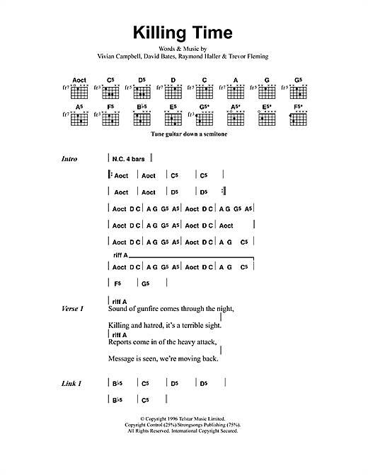 Metallica Killing Time sheet music notes and chords. Download Printable PDF.