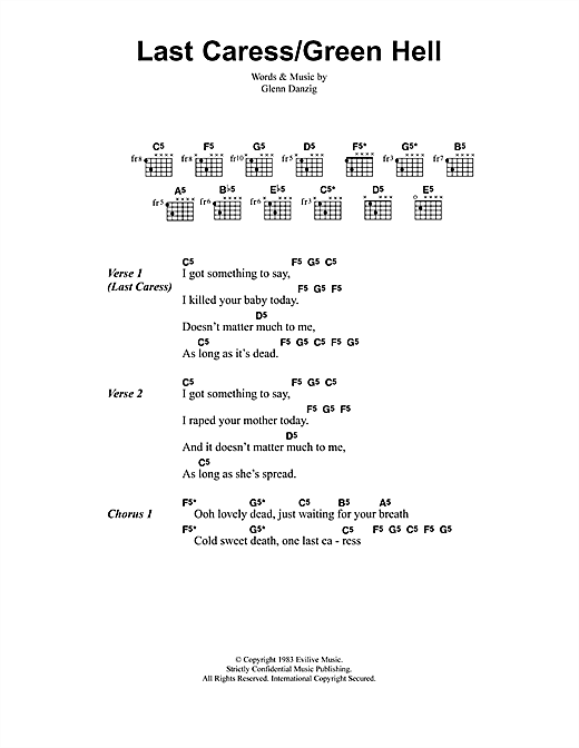 Metallica Last Caress/Green Hell sheet music notes and chords