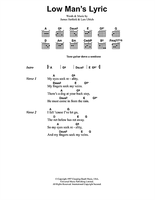 Metallica Low Man's Lyric sheet music notes and chords. Download Printable PDF.
