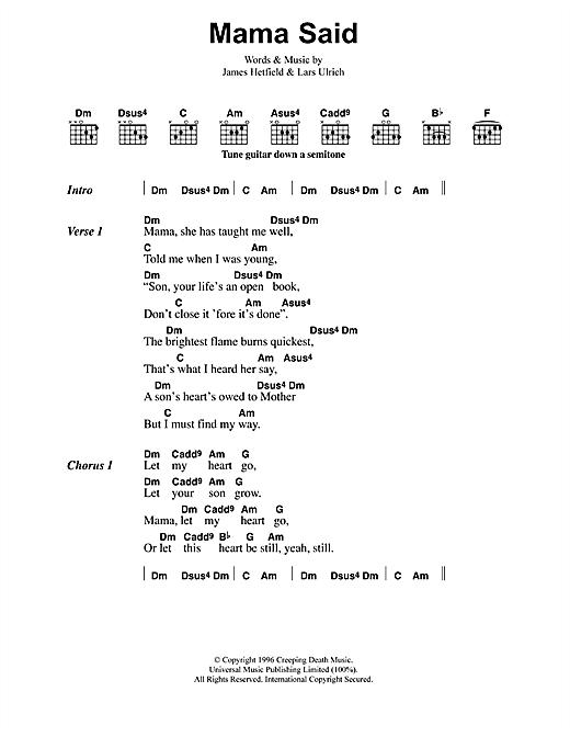 Metallica Mama Said sheet music notes and chords