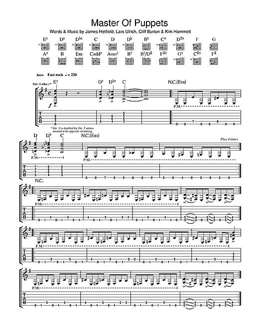 Metallica Master Of Puppets sheet music notes and chords