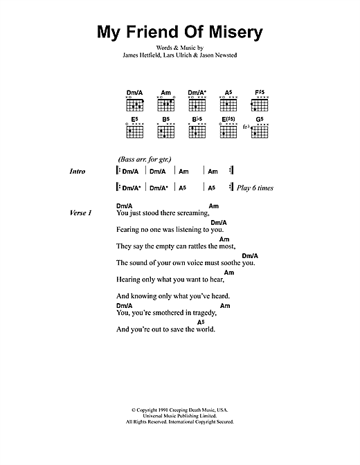 Metallica My Friend Of Misery sheet music notes and chords