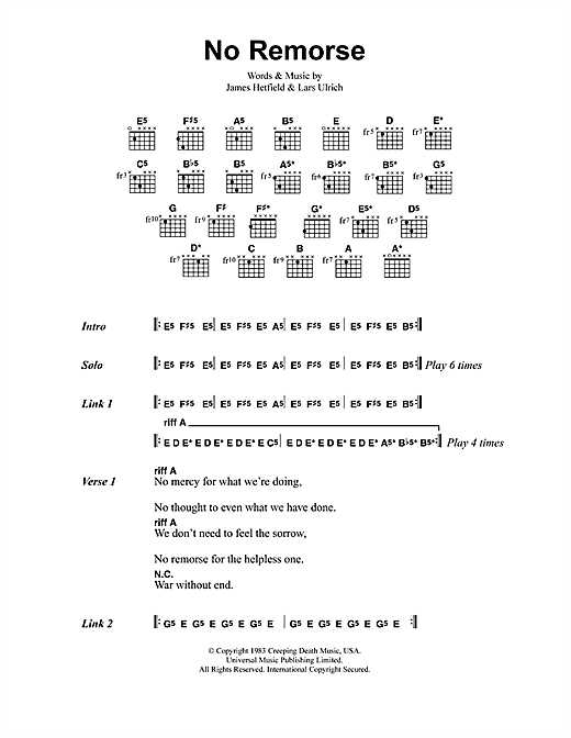 Metallica No Remorse sheet music notes and chords. Download Printable PDF.