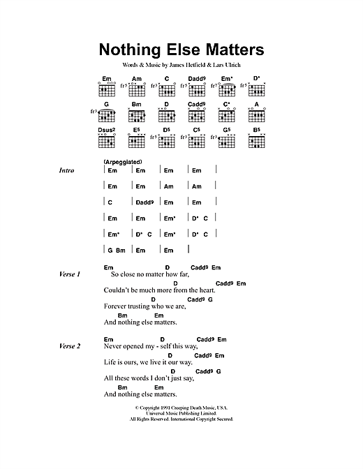Metallica Nothing Else Matters sheet music notes and chords. Download Printable PDF.