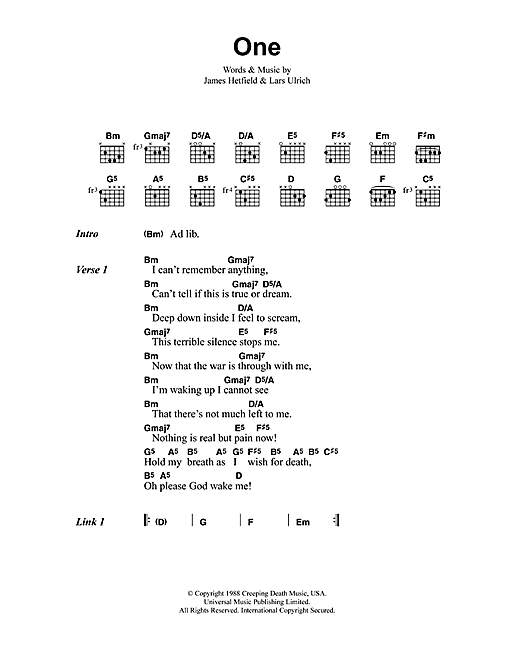 Metallica One sheet music notes and chords
