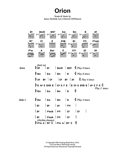 Metallica Orion sheet music notes and chords. Download Printable PDF.