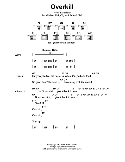 Metallica Overkill sheet music notes and chords