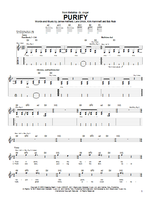Metallica Purify sheet music notes and chords