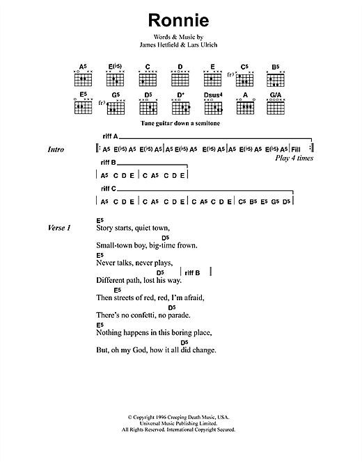 Metallica Ronnie sheet music notes and chords
