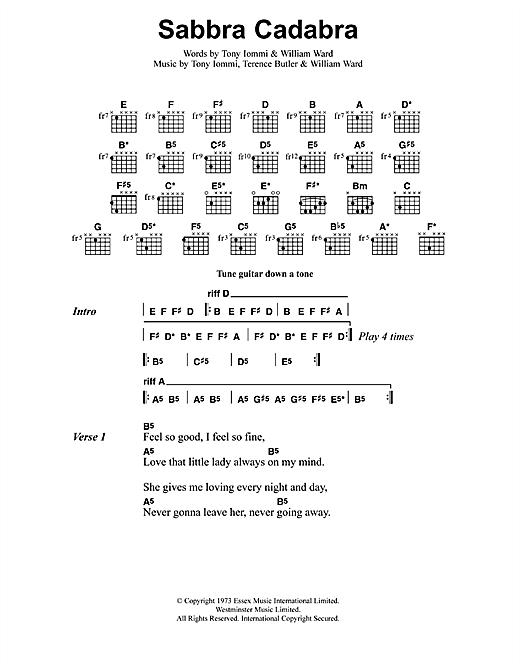 Metallica Sabbra Cadabra sheet music notes and chords