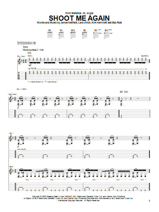 Metallica Shoot Me Again sheet music notes and chords. Download Printable PDF.