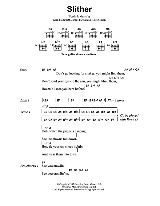 Metallica Slither sheet music notes and chords