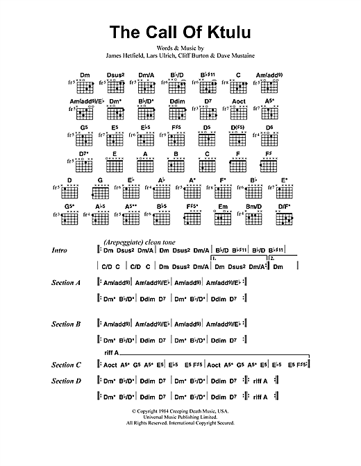 Metallica The Call Of Ktulu sheet music notes and chords