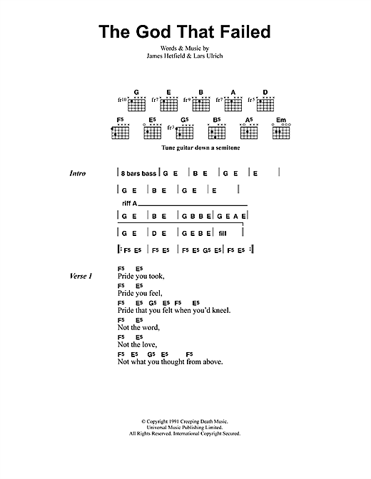 Metallica The God That Failed sheet music notes and chords