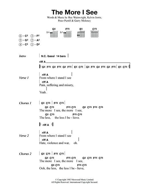 Metallica The More I See sheet music notes and chords. Download Printable PDF.