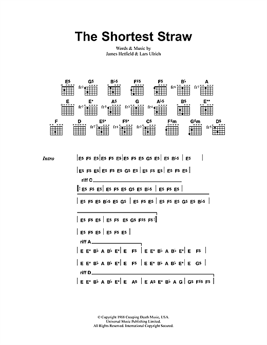 Metallica The Shortest Straw sheet music notes and chords