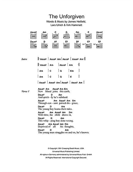 Metallica The Unforgiven sheet music notes and chords. Download Printable PDF.