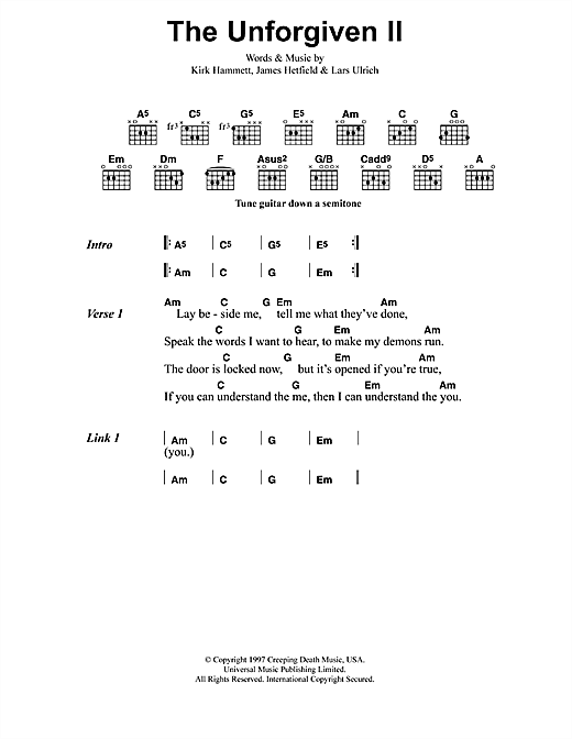 Metallica The Unforgiven II sheet music notes and chords