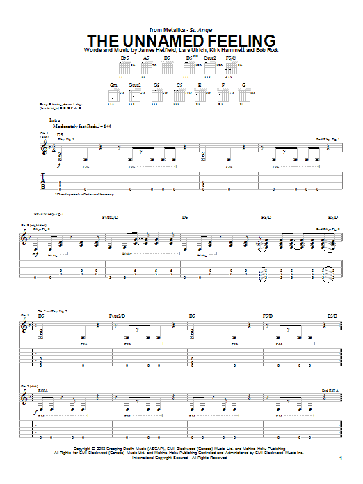 Metallica The Unnamed Feeling sheet music notes and chords. Download Printable PDF.